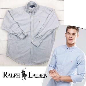 Ralph Lauren Men's Button Down Blue Pinstripe L
